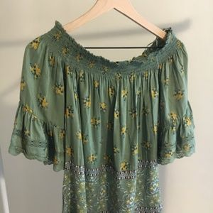 Angie off the shoulder green top with lace